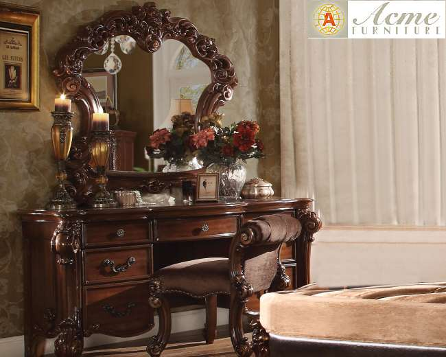 3 Piece Vanity Set.Vendome Cherry 3 Piece Vanity Set Featuring Luxury Moldings