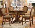 Pedestal Counter Height Table W/4-Upholstered Chairs Featuring Decorative Carvings & Classic Design