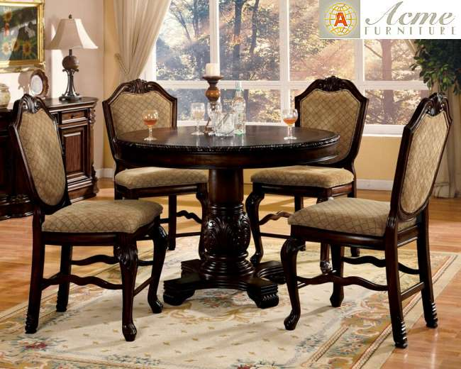 grand traditional pedestal counter height table w 4 upholstered