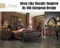 Sleep Like Royalty W/Versailles Bed Featuring Old Euro Design, Tufted Upholstery & Cherry Oak Finish