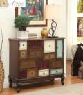 Great Looking Oak Finish Accent Cabinet With Multi Colored Front Facing Drawers & Plenty Of Storage