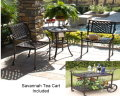 Savannah 3 Piece Bistro Set With Built-In Ice Bucket & Matching Tea Cart