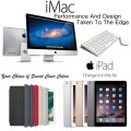 "Apple 3PC Great Bundle; 27"" iMac 3.4GHz with Retina 5K Display, 128GB iPad Air 2 & Smart Cover"