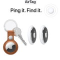 Ping it. Find it.with 2 Air Tags and 1 AirTag Leather Ring in Saddle Brown