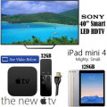 "Apple/Sony 4PC Bdl Sony 40"" Smart LED HDTV,Apple 128GB iPad Mini 4 W/Wifi And The NEW Apple TV"