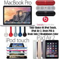 "Apple/Beats 5PC Bdl W/13.3"" McBkPro, 16GB iPad Air 2 WiFi, 32GB iPodTouch 6thG,Beats HD Hdphns &Pill"