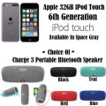 Apple 32GB Space Grey 6th Gen iPod  Touch W/ JBL Charge 3 Portable Bluetooth Speaker In 5 Colors