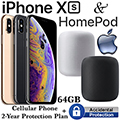 Apple 64GB iPhone Xs *UNLOCKED* & 2Yr Protection Plan+Accidental Damage Bundled With HomePod Speaker