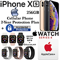 Apple 256GB iPhoneXs *UNLOCKED* & 44MM Ser4 Sport GPS+Cellular Watch W/PhoneProtect+Acc & AppleCare+