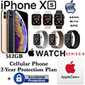 Apple 512GB iPhoneXs *UNLOCKED* & 44MM Ser4Sport GPS Watch W/PhoneProtect+Acc & AppleCare+ For Watch