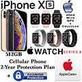 Apple 512GB iPhoneXs *UNLOCKED* & 40MM Ser4 Sport GPS+Cellular Watch W/PhoneProtect+Acc & AppleCare+