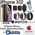 Apple 256GB iPhoneXs *UNLOCKED* & 44MM Ser4 Sport GPS+Cellular Watch W/PhoneProtect+Acc & AppleCare+