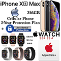 Apple 256GB iPhoneXs Max *UNLOCKED* & 44MM Series 4 Sport GPS Watch W/Phone Protect+Acc & AppleCare+
