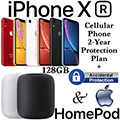 Apple 128GB iPhone XR *UNLOCKED* & 2Yr Protection Plan+Accidental Damage Bundled W/HomePod Speaker