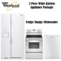Whirlpool 3-Piece White Kitchen Appliance Package-Refrigerator, Range & Dishwasher