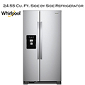 "Whirlpool 36"" Fingerprint Resistant Stainless-Steel Side-By-Side Refrigerator w/Exterior Ice & Water"