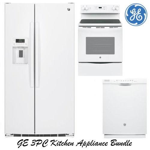 GE 3-Piece White Kitchen Appliance Package-Refrigerator ...