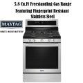 Maytag 5.8 Cu. Ft. Freestanding Gas Range Featuring Fingerprint Resistant Stainless Steel