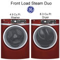 Bundle Up & Save W/ GE Laundry Center Featuring Red Front Load Steam Washer & Electric Steam Dryer