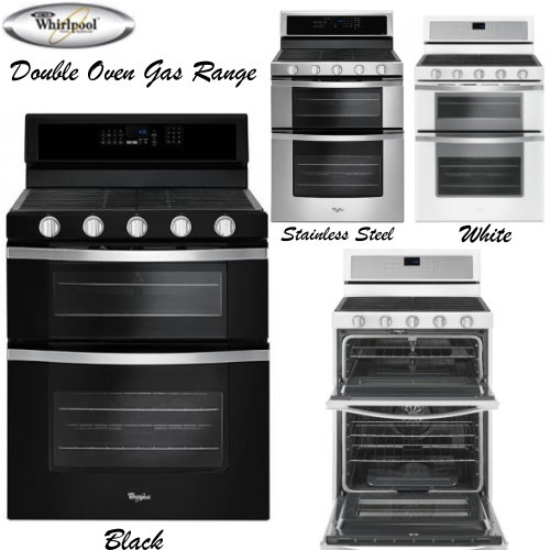 Whirlpool Double Oven Gas Range Available In Stainless Steel Black