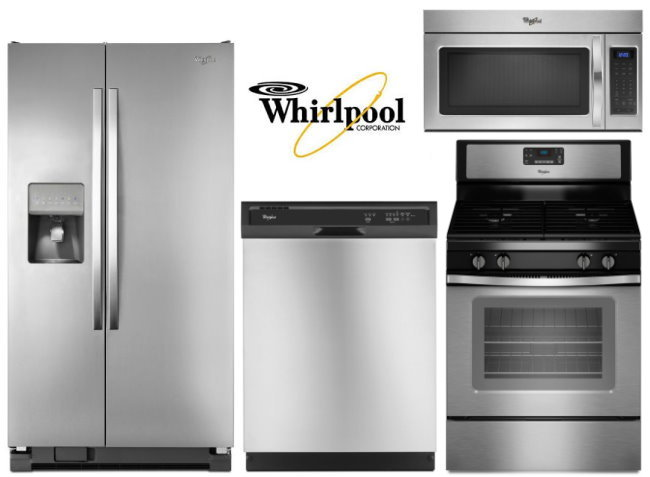 superior Kitchen Appliances Buy Now Pay Later #2: Whirlpool 4PC Lg Kitchen Appliance Bundle W/ Side By Side Fridge u0026amp; Gas Range