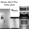 Whirlpool 4PC Lg Kitchen Appliance Bundle W/ Side By Side Fridge & Gas Range-Available In Stainless