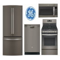GE Kitchen Appliance Bundle Featuring French Door Fridge & Gas Range - Available In Slate