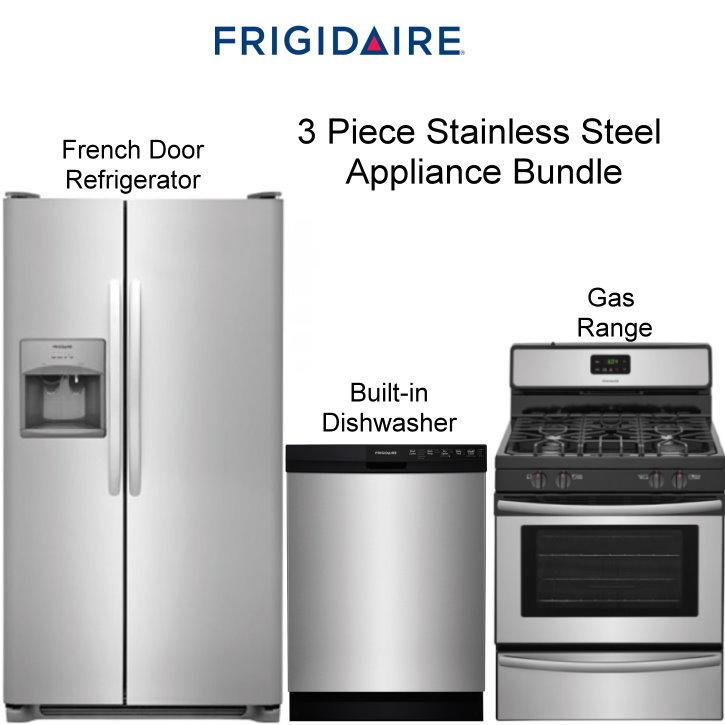 Frigidaire 3PC Appliance Bundle Featuring French Door Refrigerator ...