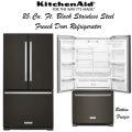 KitchenAid 25.2 Blk Stainless Steel FrenchDoor Refrigerator w/Bottom Freezer & Interior Water Filter