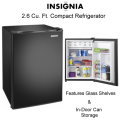 Insignia 2.6 Cu. Ft. Black Compact Refrigerator With Glass Shelves and In-Door Can Storage