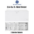 GE 21.6 Cu Ft. Capacity Chest Freezer With 5 Bulk Sliding Storage Baskets- Available In White