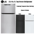 LG 23.8 Cu. Ft. Top Freezer Refigerator Featuring Tempered Glass Shelves In Choice Of 3 Finishes