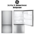 GE 24.9 Cu. Ft. Stainless Steel Bottom-Freezer Refrigerator Featuring Automatic Defrost Technology