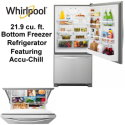 Whirlpool 22.1 Cu. Ft. Bottom-Freezer Refrigerator Featuring Fresh Flow Produce Preserver