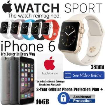 Apple 38mm Watch Sport & Apple 16GB iPhone 6 *UNLOCKED* W/AppleCare, 2Yr Cellular Phone + Accidental