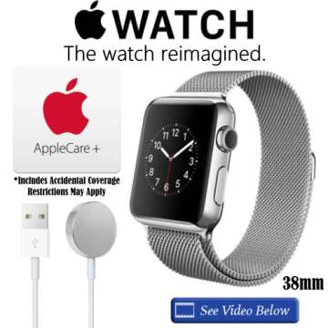 NEW Apple 38mm Watch W/MilaneseLoop, AppleCare+ ProtectionPlan & Apple Watch Magnetic Charging Cable