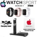 Apple 38mm Watch Sport Series 1 In Various Colors, AppleCare+ Protection & Apple Watch Charger Stand