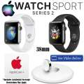 Apple 38mm Watch Sport Series 2 W/Stainless Steel Case, AppleCare+ Plan & Apple Watch Charging Dock