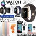 Apple 42mm Watch Sport Series 1 & 128GB iPhone 6S+ *UNLOCKED* W/Belkin Charger Stand & 2YR Warranty