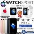 Apple 42mm Watch Sport Series 2 & 32GB iPhone 7 *UNLOCKED* W/AppleCare+, 2Yr Cellular + Accidental