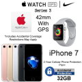 Apple 42mm Watch Sport Series 3 & 32GB iPhone 7 *UNLOCKED* W/AppleCare+, 2Yr Cellular + Accidental