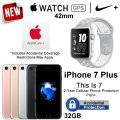 APPLE 42mm Nike+ Watch with Apple Care and 32 GB Apple iPhone 7 Plus with 2 Year Warranty