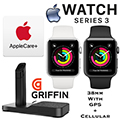 Apple 38mm Series 3 Watch With GPS + Cellular Bundled W/AppleCare+ Protection Plan & Charging Stand
