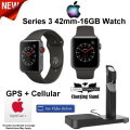 Apple 42mm 16GB Series 3 Watch Featuring GPS + Cellular, Includes AppleCare & Charging Stand