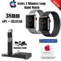 Apple 38mm 16GB Series 3 Milanese Watch Featuring GPS + Cellular,Includes AppleCare & Charging Stand