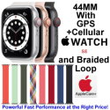 Apple 44mm Watch SE With GPS + Cellular & Braided Solo Loop Bundled With AppleCare+ Protection Plan