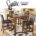 Faux Marble Table Top & Faux Leather Chairs Create This Rich Contemporary 5PC Counter Height Set