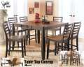 Relaxing Two-Tone Brown Finish Counter Height 7-Piece Dining Package With 18
