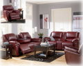 Blended Leather Match 2PC Motion Collection In Garnet W/Reclining Sofa W/Drop Down Table & Massage