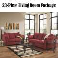 23PC LivingRoom Pkg W/Salsa Upholstery,Tables,Lamps,Rug, Accessories,Wall Art, Accent Pillows & More
